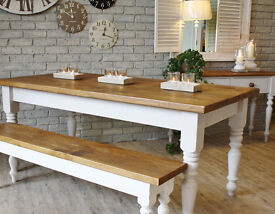 *New Handmade Turned Leg Pine Farmhouse Dining Table*