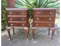 Pair of Vintage Reproduction Mahogany Bedside Tables