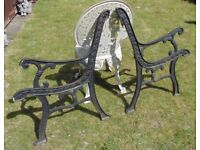 (#718) vintage pair of garden cast iron bench ends (Pick up only, Dy4 area)