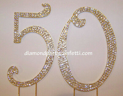 GOLD Rhinestone Crystal Covered 50th 50 Anniversary Birthday Number Cake Topper