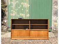 Long Teak Mid Century Bookcase. Delivery possible.