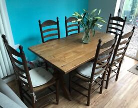 Dining table and six chairs. Dark Oak. Superb quality
