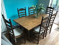 Dark Oak Dining table and six chairs. Superb quality
