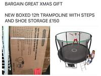 New boxed 12ft trampoline with steps and shoe storage