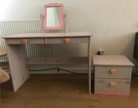 Pine Lovely dressing table & draws painted pink & white