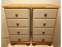 Two solid pine and oak bedside tables vintage Laura Ashley