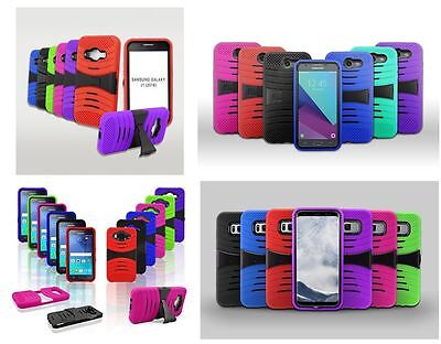Talking Stand - Rugged Armor Hybrid Stand Cover Case For Walmart Straight Talk Samsung Galaxy