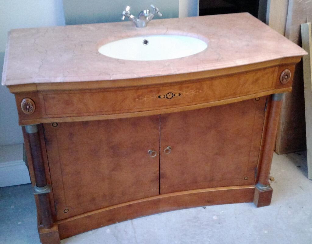 Quality vanity units bathroom - Bathroom Vanity Unit Cabinet Marble Top Sink And Tap Very Heavy Quality Wood