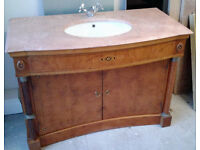 Bathroom Vanity Unit Cabinet Marble top, sink and tap, very heavy - quality wood, two doors.
