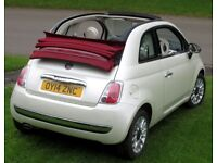 Fiat 500C 2014 pearlescent white convertible 1.2L manual petrol 24800 miles