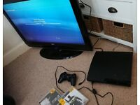 Ps3 slim 120gb + controller + cables + games. Available with TV for extra cost