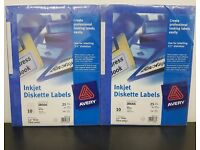 2 Packs of Avery J8666 Inkjet Diskette Labels 25 Sheets 10 Labels per Sheet