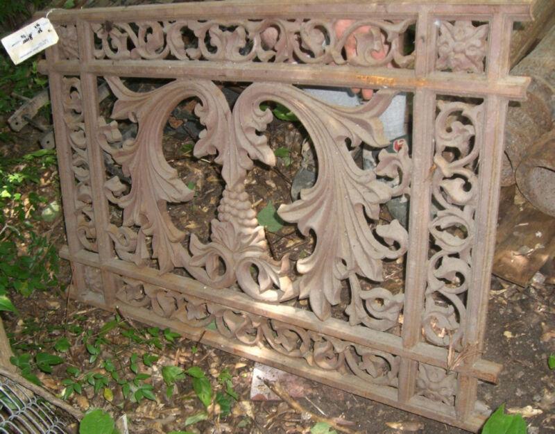 Antique Cast Iron fence panel Victorian grape floral Ornate 1880