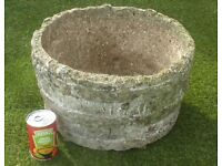 Vintage Well Weathered Cast Stone Barrel Planter 24cm Tall 9½ins (1025)