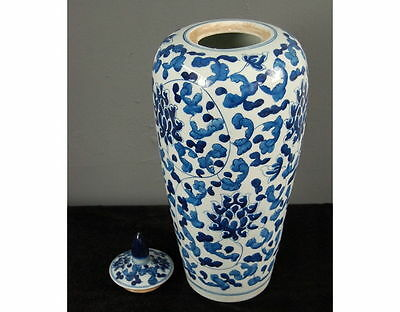 Chinesische Bodenvase, blau-weiß, ca. 50cm hoch