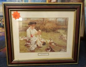 """Feeding the ducks"" by E. Killingworth Johnson (1825-1923) picture."