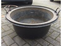 French cast iron cauldron with stand