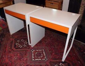 "2 Ikea ""micke"" computer desks. White with orange drawers"