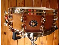 Ltd Mapex Black Panther Deep Forest Cherry Wood Gold 10 lug Snare Drum Stunning !
