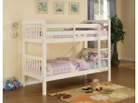 Solid White Wooden Quality Singe Size Bunk Bed (Can split into 2 single beds)