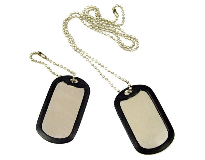 200 Shinny Military GI Dog Tags Rolled edge  Black silencers ball chains