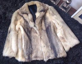 Real Fur Beige And Black Coat. Cream Fox Jacket. Stunning quality