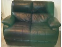 Black Soft Leather 2 Seater Settee in immaculate condition