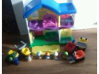 Little people house, vehicles, people and pink car