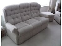 Cream 3 piece suite - sofa and 2 armchairs with Footstool