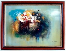 *** Abstract Oil painting Hand Painting - Mahogany Frame ***
