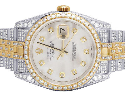 Mens Rolex Datejust 36MM 116233 18K Two Tone White MOP Dial Diamond Watch 13.5Ct