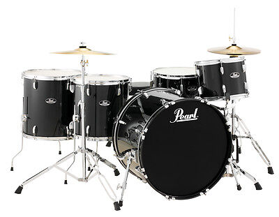 Pearl Roadshow 5 Piece Drum Set With Hardware & Cymbals - Jet Black - RS525WFC/C