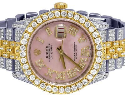 Rolex Datejust 36MM 116233 18K/ Steel Two Tone Pink Dial Diamond Watch 17.75 Ct
