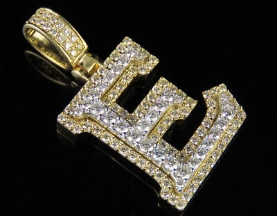 E Initial Custom Letter Diamond Pendant Charm In 10K Two Tone Gold 1 3/4 CT 1.5""