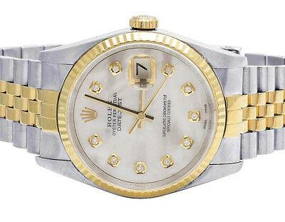 Rolex Datejust 36MM Two Tone 18K Gold/ Steel Fluted Bezel MOP Dial Diamond Watch