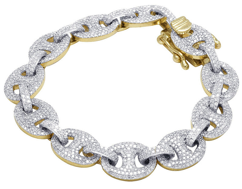 Mens 10k Yellow Gold Genuine Diamond 12mm Puff Mariner Gg Link Bracelet 11 Ct 8""