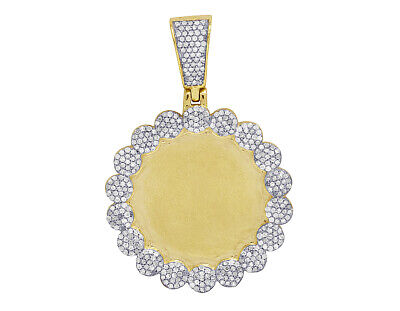 Real Diamond Cluster Memory Picture Photo Pendant In 10K Yellow Gold 6/7 CT 1.5