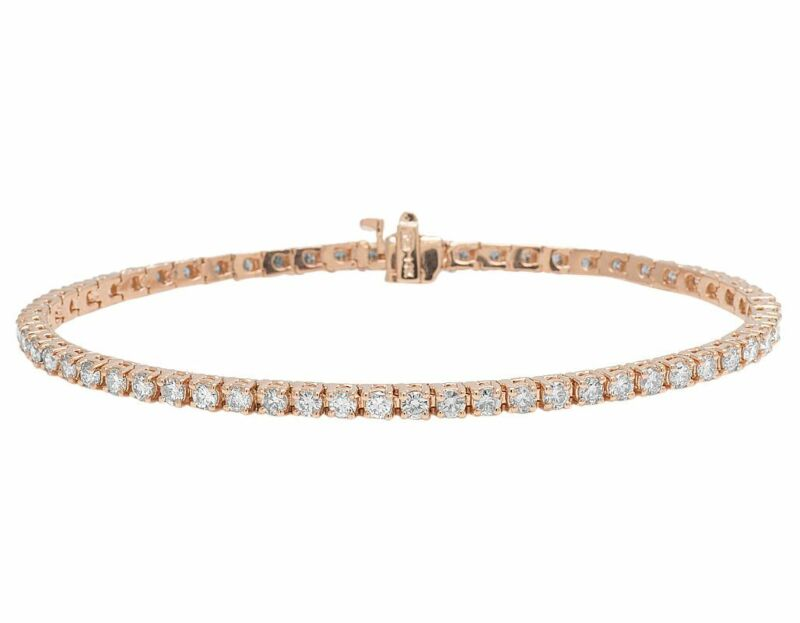 "Real 14k Rose Gold 3mm Genuine Solitaire Diamond Tennis Bracelet 6 1/2 Ct 8"""