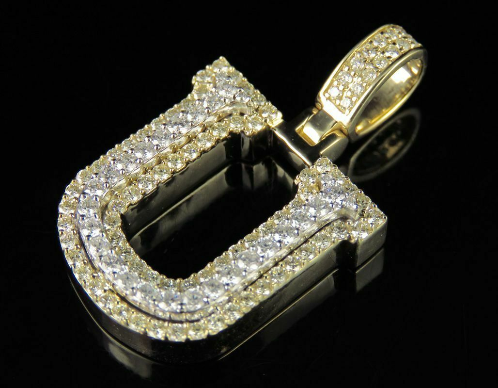 1.75 Ct Round Diamond Initial U Alphabet Letter Pendant 14k Two Tone Gold Over - $175.95