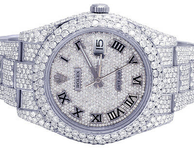 Mens Rolex Datejust II 116300 41MM S.Steel Full Iced Out Diamond Watch 31.75 Ct