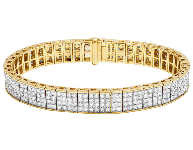 10k Yellow Gold Real Diamond Pave Iced Designer Men
