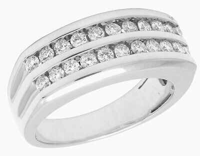 Two Row Channel Set (10K White Gold Real Diamond Mens Two Row Channel Set Ring 1 1/10)