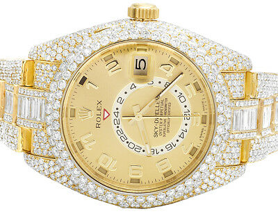 Rolex Sky Dweller 18K Yellow Gold 326938 42MM VVS Full Diamond Watch 36.55 Ct