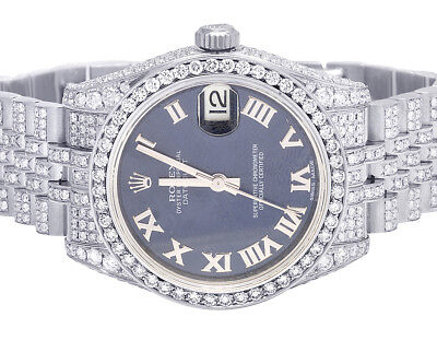 Ladies Rolex Midsize Datejust 178270 31MM Roman Full VS Diamond Watch 11.75 Ct