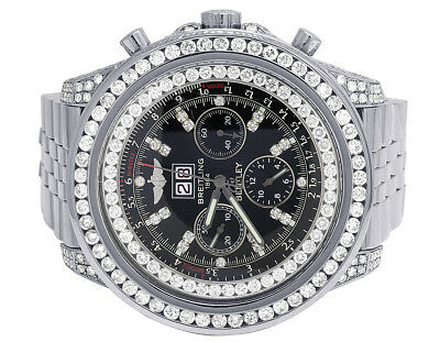Custom Breitling Bentley 6.75 A4436412 Black 48MM S.Steel Diamond Watch 10.5 Ct