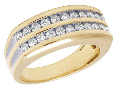 Two Row Channel Set (10K Yellow Gold Real Diamond Mens Two Row Channel Set Ring 1 1/10)
