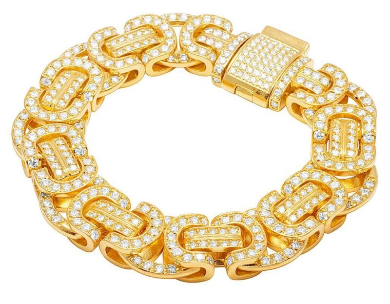 Solid 10K Yellow Gold Real Diamond 17MM Byzantine Designer Bracelet 21 1/2 CT 9""