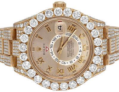 Mens Rolex Sky Dweller 18K Everose Gold 326939 42MM VS Diamond Watch 31.5 Ct