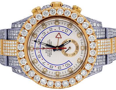 Mens Rolex Yacht Master II 116681 Everose 44MM Oyster VS Diamond Watch 32.15 Ct