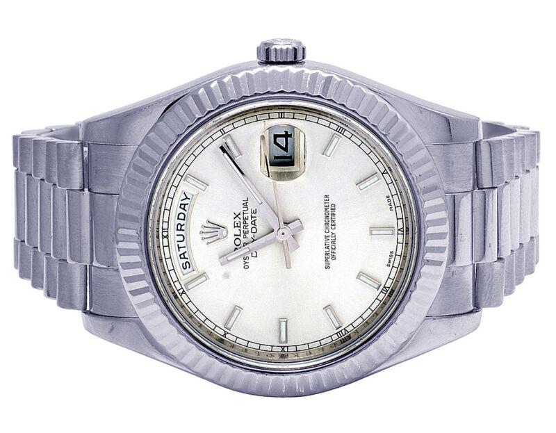 Mens Rolex 18k White Gold Day-date Ii 41mm President 218239 Fluted Bezel Watch